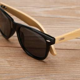 Óculos de sol masculino com pernas de bambu