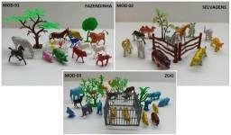 Kit Brinquedo Animais Fazenda Mini Fazendinha Zoo Selvagens
