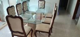 Mesa de vidro com 8 cadeiras base de marmore Carrara