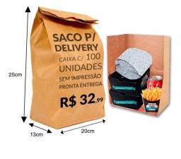 Saco Papel Kraft Delivery 20x13x25 500unid embalagem fechada
