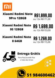 Xiaomi Redmi Note 8 64GB,Note 9Pro 128GB,Note 9S 128GB-NOVO-LACRADO-VERSAO GLOBAL