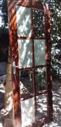 Porta Antiga Em Madeira Maciça Faltando 4 Vidros