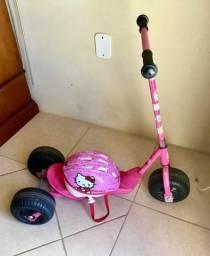 Patinete Rosa com 3 Rodas, bolsinha Barbie e capacete e joelheiras