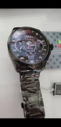 Relógio Tag Heuer Mercedes Benz SLS Black a prova d'água Completo