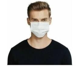 Kit contém 100 máscaras brancas descartáveis - TNT 40 gr dupla camada