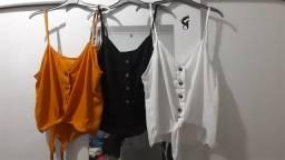 3 blusas de alça