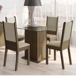 Mesa de vidro e 4 cadeiras + capas