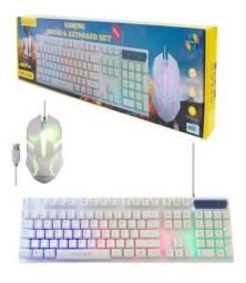 Teclado e mouse semi mecânico iluminados