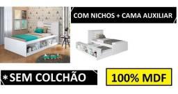 Cama Solteiro com Nichos 100% MDF