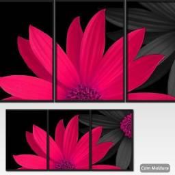 3 Quadros Com Moldura Flor Red Vermelha - Decorativo Premium
