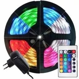 Fita de Led RGB 5050 5 Metros 300 LEDs com Fonte 12V- Rf informatica
