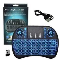 Mini teclado touchpad sem fio com led, leia.