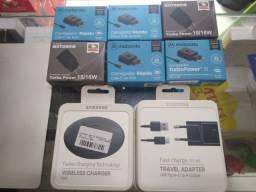 Carregador Fast Charge,Turbo e Wireless Samsung ou Motorola Original.