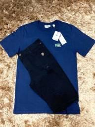 Conjunto camisa lacoste e bermuda jeans