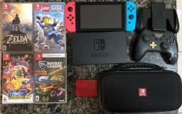 Nitendo Switch + 1 controle original + 1 controle Zelda + 4 jogos