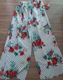 Pantalona de poliéster branca com bolinhas tamanho único