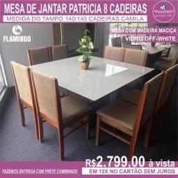 Mesa Patricia Flamingo 1,40 /8 cadeiras