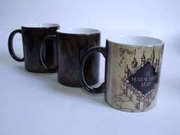 Caneca preta em ceramica magica 3D harry potter mapa do maroto