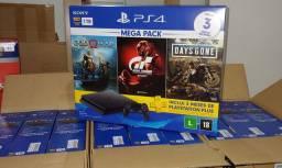 Console playstation 4 - mega pack 12 - c/ 3 jogos, 1 joystick, 3 meses ps+ sony