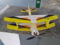 Aeromodelo 3d shockflyer completo motor forte biplano com rádio turnigy 9x pronto