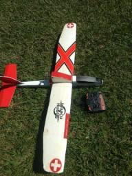 Planador iguaçuhobby completo com rádio e baterias