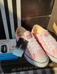 Tenis Allstar Converse feminino - cor rosa - tam. 35 + relógio inteligente smartwatch M3