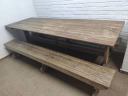 Mesa madeira churrasqueira