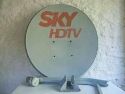Antena Sky Original Banda Ku 60 cm Completa Lnbf Universal cabo coaxial 20 metros