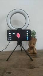 Ring Light 16cm completo com suporte para celular e tripé de mesa
