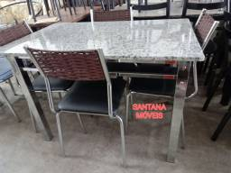 Jogo mesa ferro cromadas + 4 cadeiras. 1.15 x 0.74 L.  Pçs novas