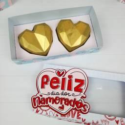 Caixa dia dos namorados para 2 corações lapidados