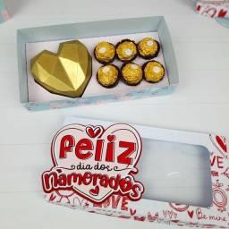 Caixa para dia dos namorados coração lapidado de 25 gramas + 6 doces