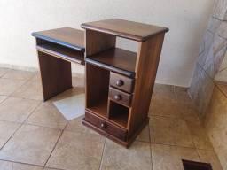 Mesa de madeira maciça imbuia para computador