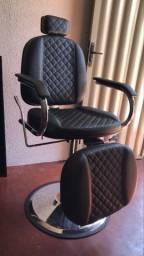Cadeira hidráulica e reclinável de barbearia
