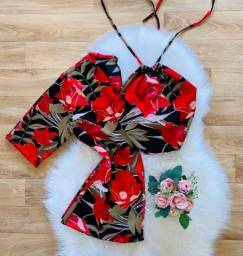 Conjunto Cropped e Kimono
