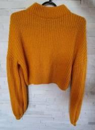 Blusa Cropped de Tricot Amarelo com manga bufante