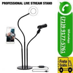 Ring Light Professional Live Stream Mesa Com Suporte 3 Em 1 (NOVO)