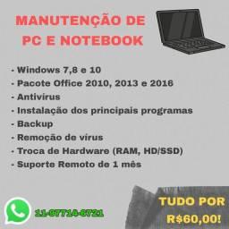 Manutenção e Formatação de PCs e Notebook