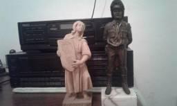 Soldado de bronze, anjo de madeira e porta jóia pr