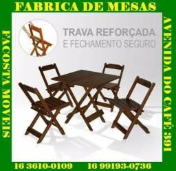 Mesa de madeira dobravel com 4 cadeira facosta moveis so 398,00