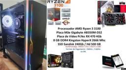 PC Gamer Amd Ryzen 3 3100 8Gb RX 470 4Gb + Brindes !!!