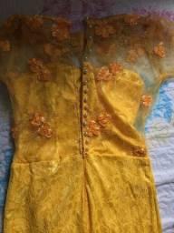 Vestido amarelo de festa usado 1 vez