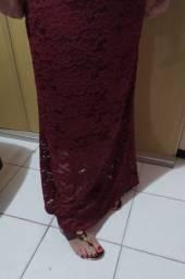Vestido de festa marsala longo