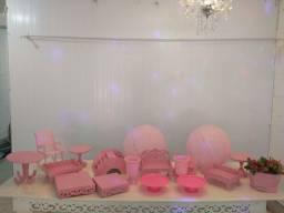 Itens de decoração rosa