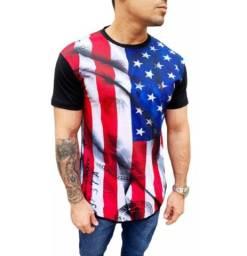 Kit 3 camisetas long line masculina estampada