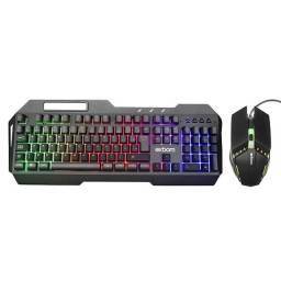 R$189,90 - Kit Teclado Metal Com Mouse Led Rgb Game Jogos Abnt2 Bk-g800