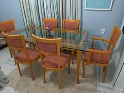 Mesa de jantar em madeira 6 cadeiras