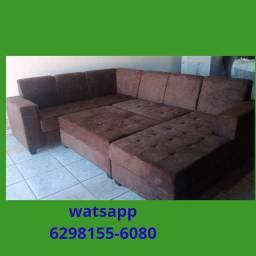 Sofá de canto com puf e chass,, sofá sofá sofá sofá sofá sofá sofá sofá sofá