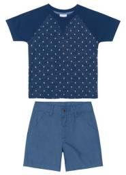 Camisa meia malha e bermuda sarja ( Tam 1)