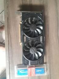 Placa de vidro GTX 1050 ti 4GB + memória RAM de 8GB 1600mhz